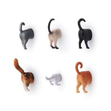 Kikkerland Cat Butt Magnet Set (Set of 6)