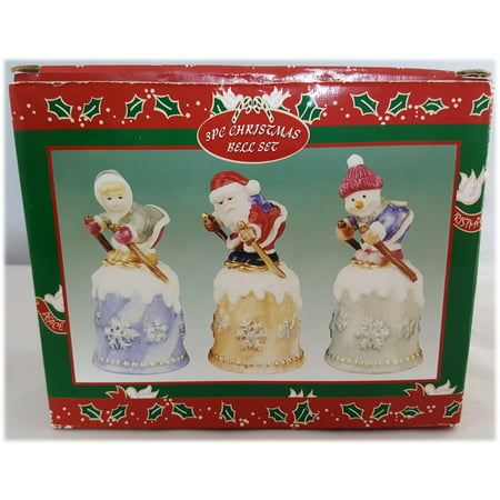 - Price Products 3 Piece Christmas Bell Set - Skiing-Santa-Snowman-Girl