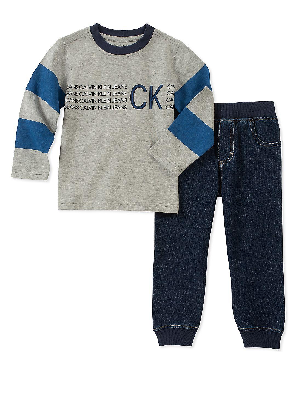 Calvin Klein Boys 4-7 Long Sleeve Jogger Set