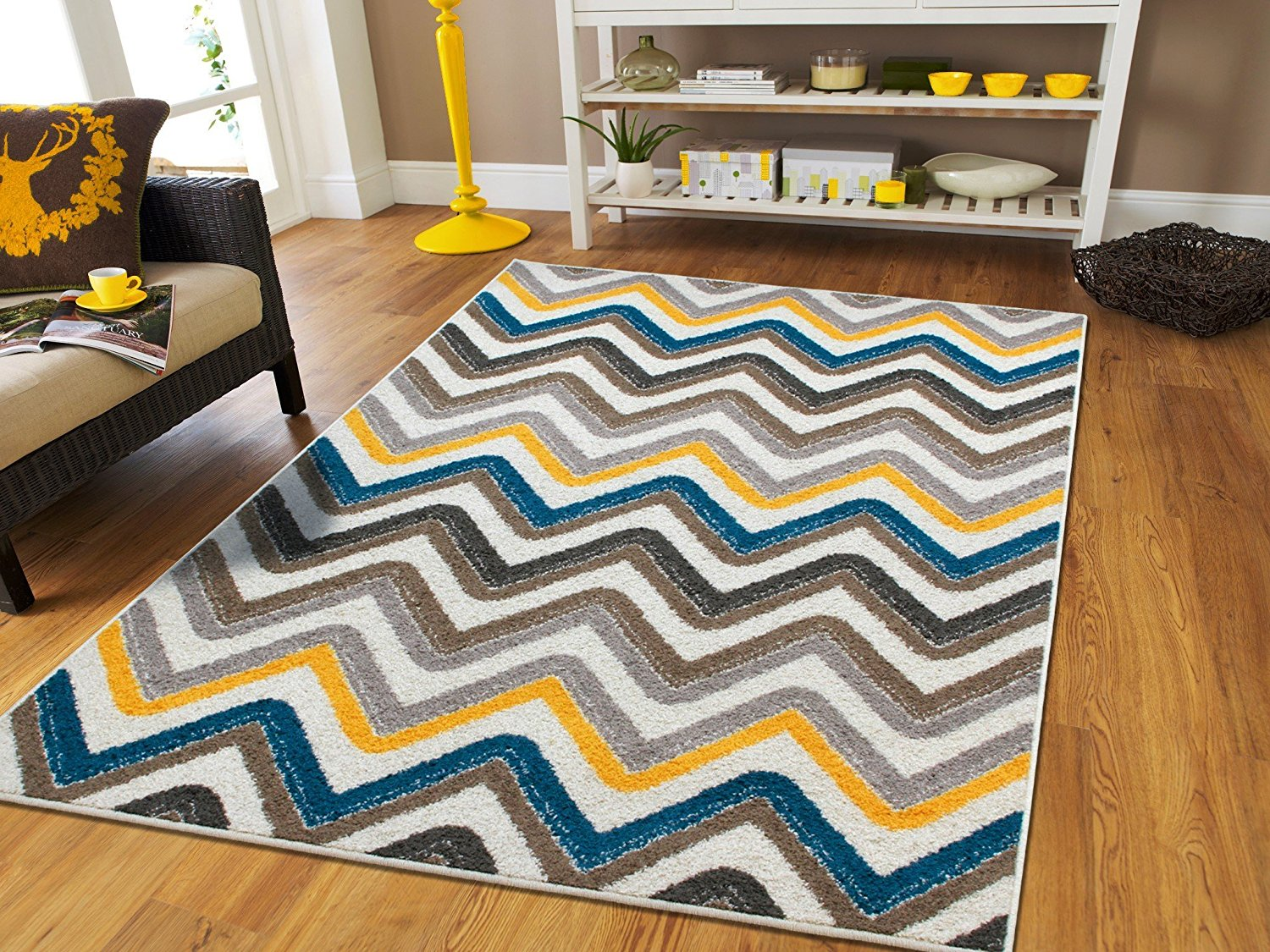 New Fashion Luxury Chevron 5x8 Large Rugs For Living Room Gray Cream ...