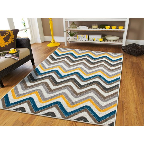 Large 8x11 Rugs For Living Room Zigzag Blue Brown Cream