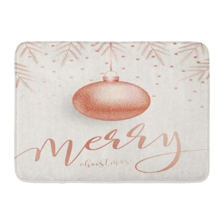 GODPOK Rose Modern Merry Christmas with Lettreing Pink Gold Metal Ball with Fir Branches and Confetti Winter Rug Doormat Bath Mat 23.6x15.7 inch ()