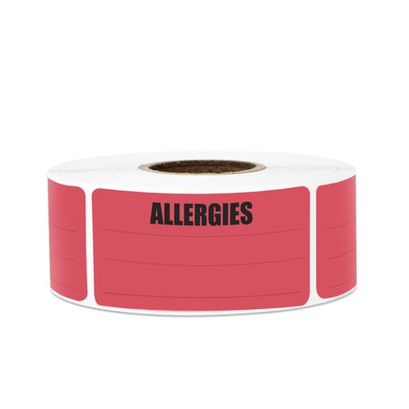 "2.15"" x 1"" Write-In Allergies Stickers Labels for Allergy Warning (2 Rolls / Red)"