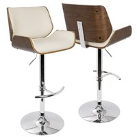 Santi Mid-Century Modern Adjustable Barstool with Swivel in Walnut and Cream Faux Leather by LumiSource