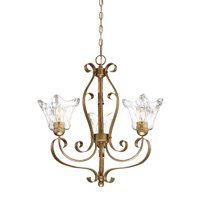 "Millennium Lighting 7423 Chatsworth 3-Light 23"" Wide Chandelier with Fluted Glass Shades"