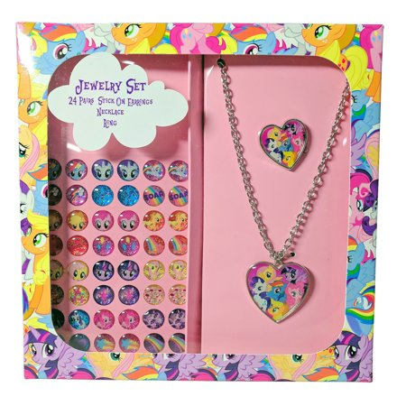 Girls Necklace And Earring Set (My Little Pony Girls Jewelry Set Stick On Earrings Necklace Ring Gift Box)