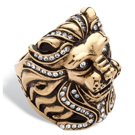 Men's Pave Crystal Lion Ring MADE WITH SWAROVSKI ELEMENTS in Gold Ion-Plated Stainless Steel