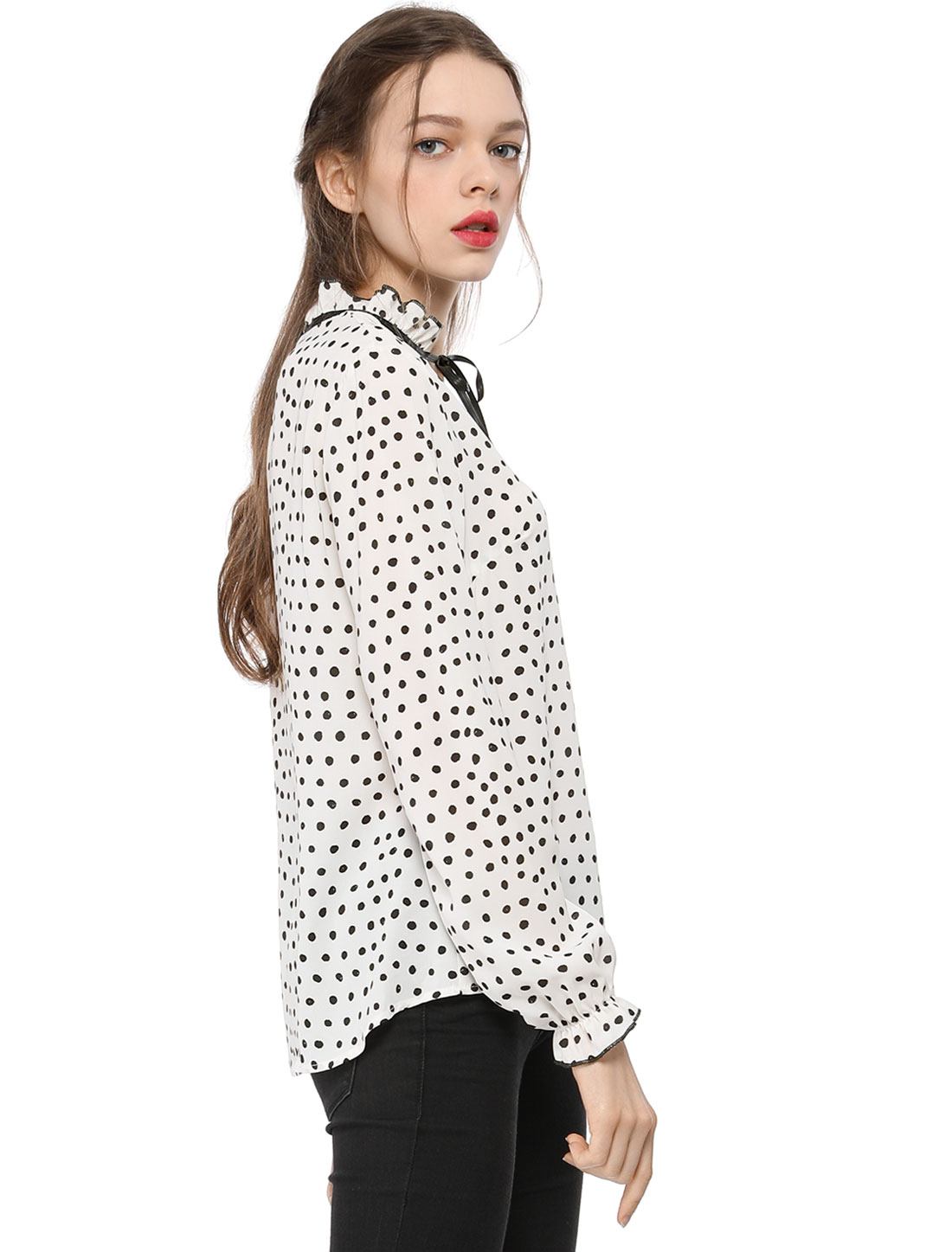 NEW WOMENS LADIES V NECK BAGGY POLKA DOT PRINT TURN UP SLEEVE TOP PLUS SIZE 8-26