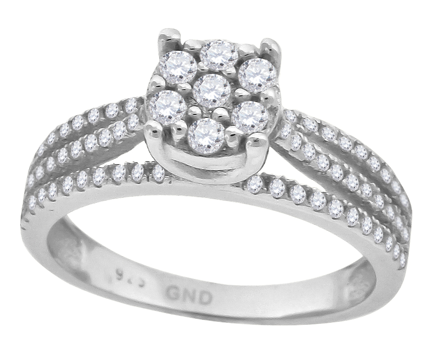 Saris and Things 925 Sterling Silver Womens Cubic Zirconia Sizes 6-9 Princess-Cut Center Stones Bridal Wedding Engagement Ring Band