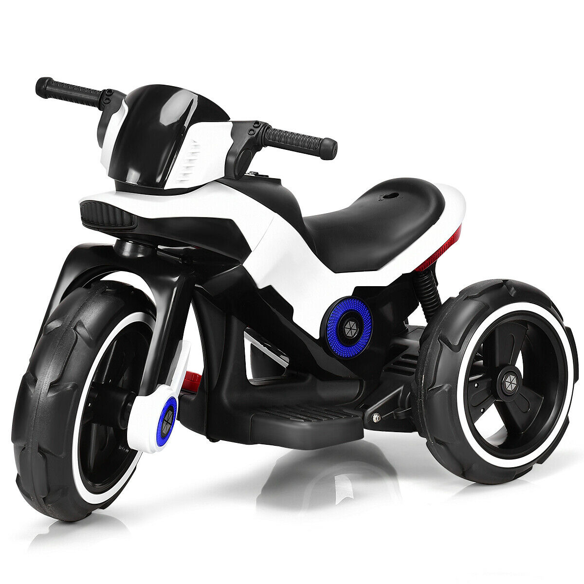 White Kids Ride On Motorcycle 6V Toy Battery Powered Electric 3 Wheel Bicycle
