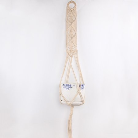 Macrame Plant Hanger Indoor Outdoor Hand Knit Hanging Suspend Planter Basket Net Cotton Rope K style - image 3 of 7