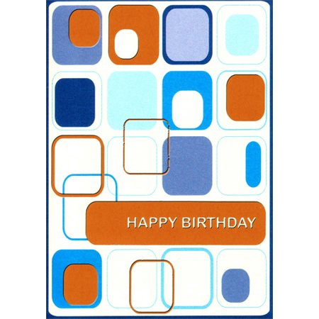 Freedom Greetings Retro Blue and Orange Squares Birthday Card