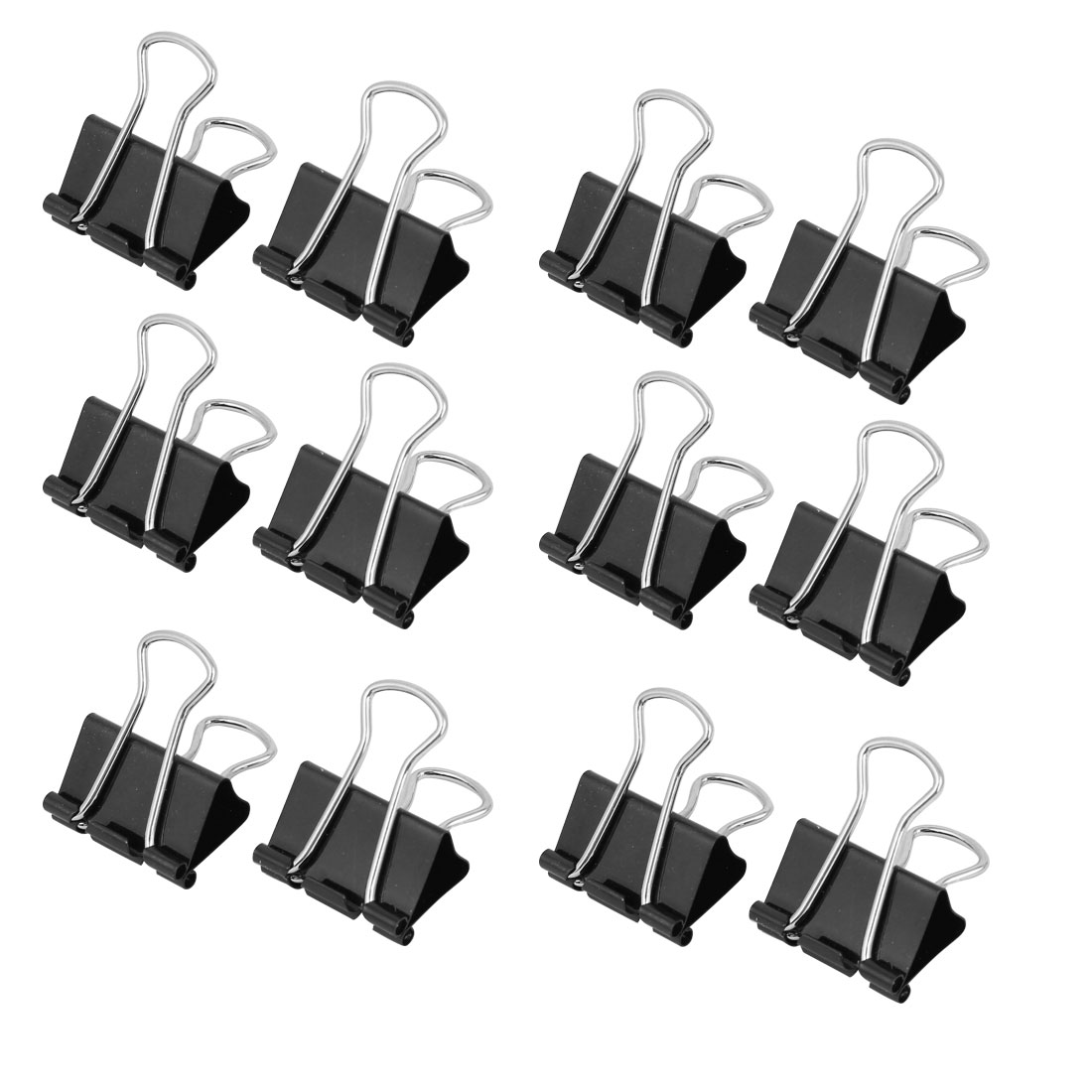 Unique Bargains 32mm Wide Black Metal Doucument File Paper Binder Clip Clamp 12pcs