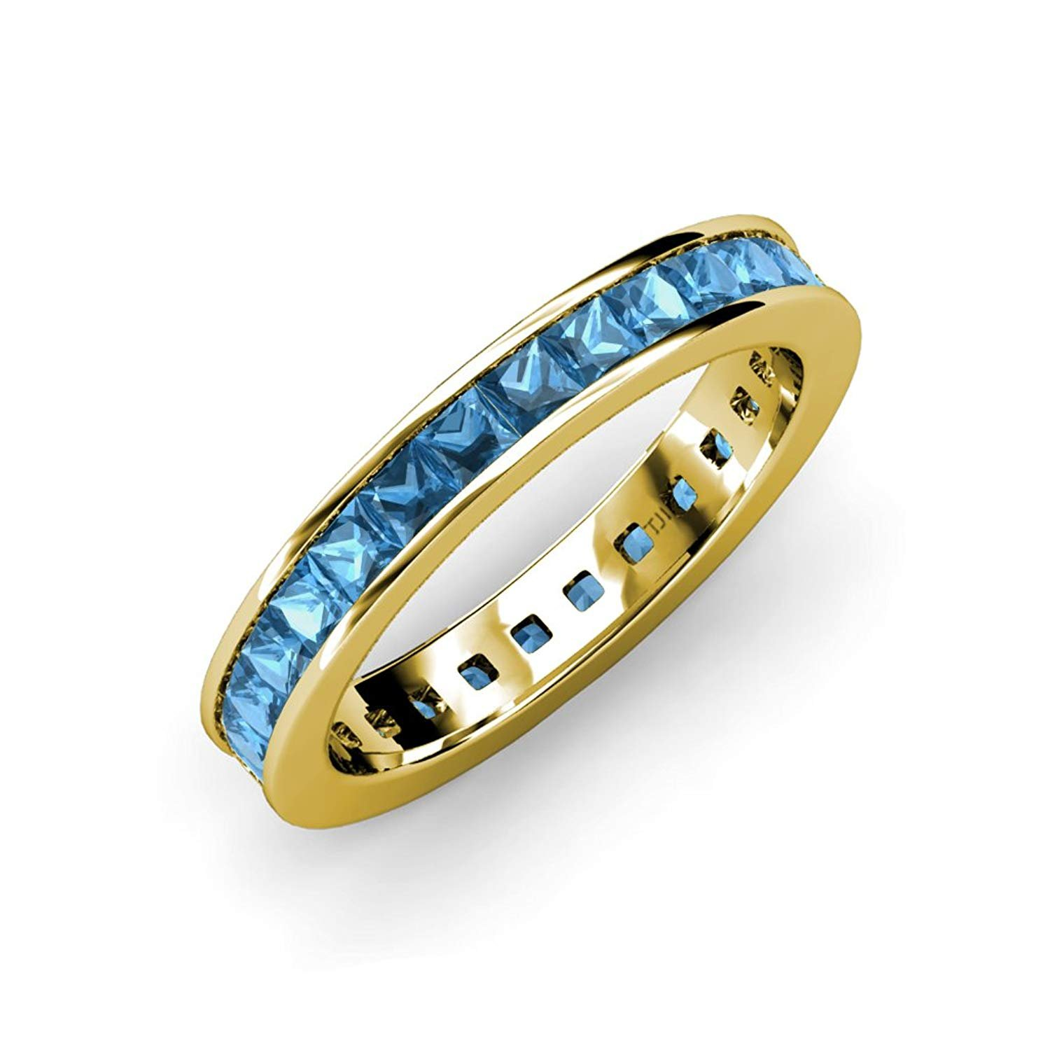 Blue Topaz Princess Cut Channel Set Eternity Band 3.15 ct tw to 3.78 ct tw in 14K Rose Gold.size 8.5 by TriJewels