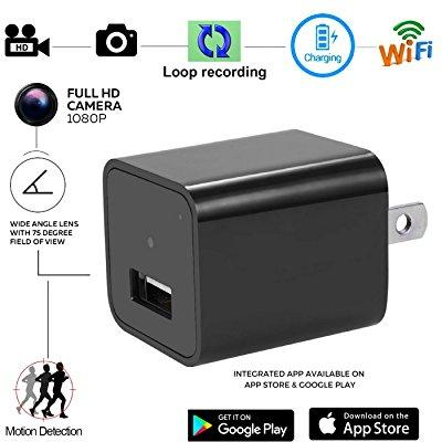 WiFi HD 1080P Spy Camera Hidden USB AC Adapter Wall Charger Motion Detection Cam