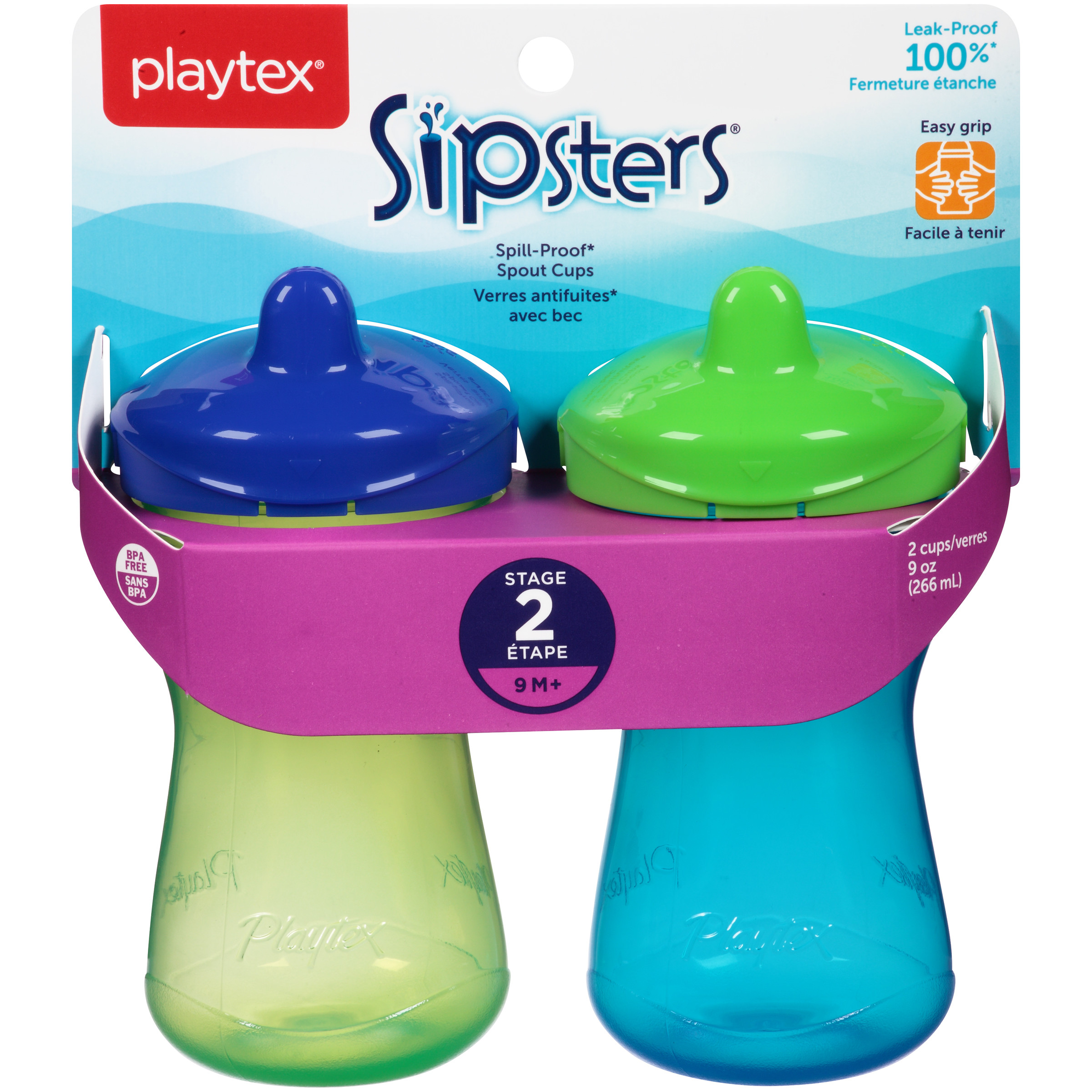 Playtex Sipsters Stage 2 Spout Sippy Cup 9oz 2-Pack Assorted Colors