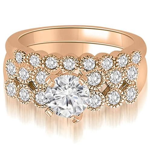 """1.75 cttw. 14K Rose Gold Two Row Milgrain Round Cut Diamond Bridal Set (I1, H-I)"""