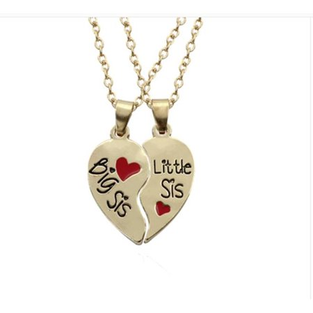 Two Piece Necklace Big Sister Little Sister Heart Set Gold Tone Enamel Anti-Tarnish Pendant  J-274