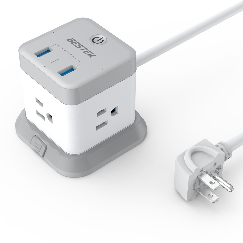 Bestek Desktop Power Strip, Smart with Wifi Control, Works with Google Home, Google Assistant, 3 AC + 2 USB, 5 feet cord