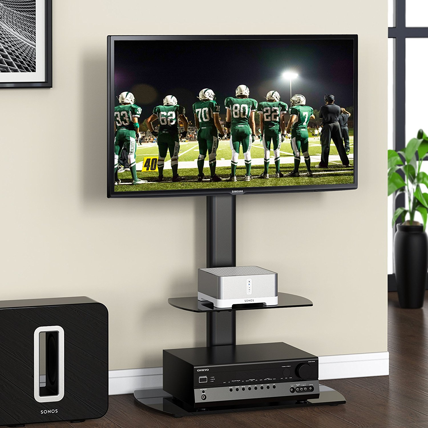 FITUEYES Swivel Floor TV Stand with Mount for 32 to 50 Inch TV TT206501GB