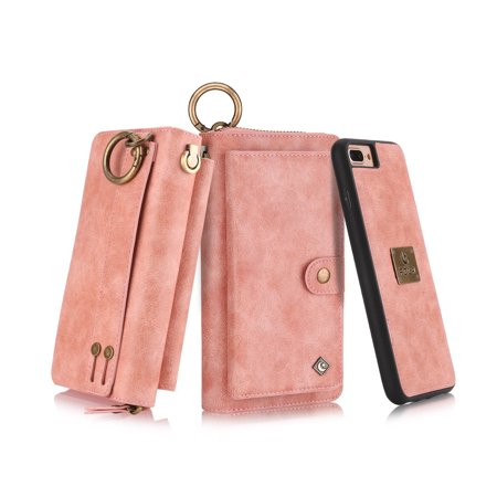 new concept 83deb 842ff iPhone 8 Plus, iPhone 7 Plus Wallet Case, Alleytech Girls Women Magnets  Detachable Zipper Wallet Case Cover PU Leather Carrying Case for Apple  iPhone ...