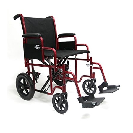 Karman Bariatric Transport Chair with Removable Armrest Seat, Burgundy, 20""