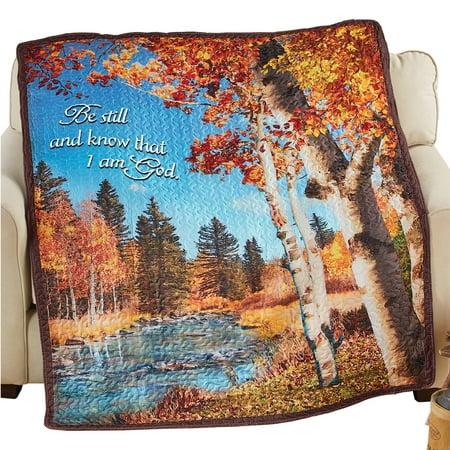 Religious Throw Blankets - Fall Birch Trees Quilted Throw Blanket with Religious Quote
