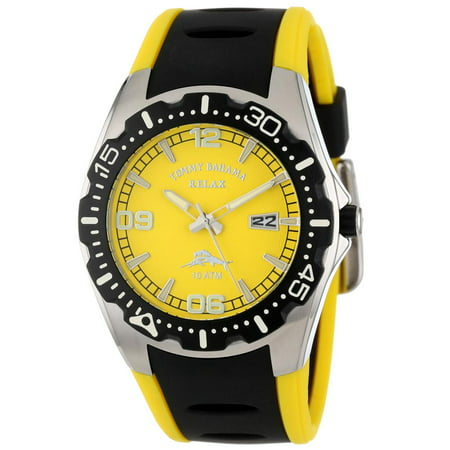 Tommy Bahama Rlx1000 Men S Beach Cruiser Relax Yellow Dial Black Polyurethane