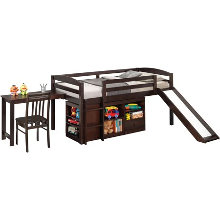Broyhill Kids Destin Junior Loft Bed Collection with Slide, Espresso, Box 5 of 7