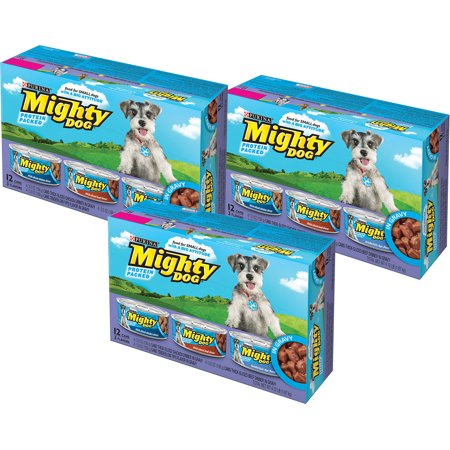 (3 Pack) Mighty Dog Thick-Sliced Chicken, Beef, and Tenderloin Tips Gravy Wet Dog Food Variety, 5.5 Oz, Case of