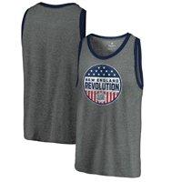 New England Revolution Fanatics Branded Americana Parade Pin Tri-Blend Tank Top - Heathered Gray