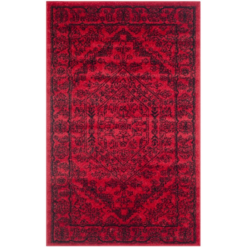 "Safavieh Adirondack 2'6"" X 18' Power Loomed Rug in Red and Black"