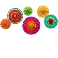 Cinco de Mayo Fiesta Paper Fan Hanging Decorations (6 Pack)