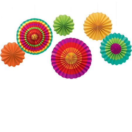Cinco de Mayo Fiesta Paper Fan Hanging Decorations (6 Pack)