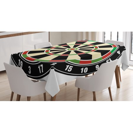 Sports Tablecloth, Dart Board Numbers Sports Accuracy Precision Target Leisure Time Graphic, Rectangular Table Cover for Dining Room Kitchen, 60 X 84 Inches, Vermilion Green Black, by Ambesonne