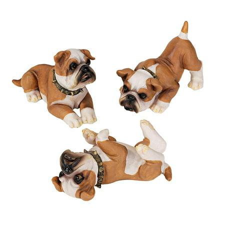 Design Toscano Stop, Drop and Roll British Bulldog Puppy Statues: Set of Six