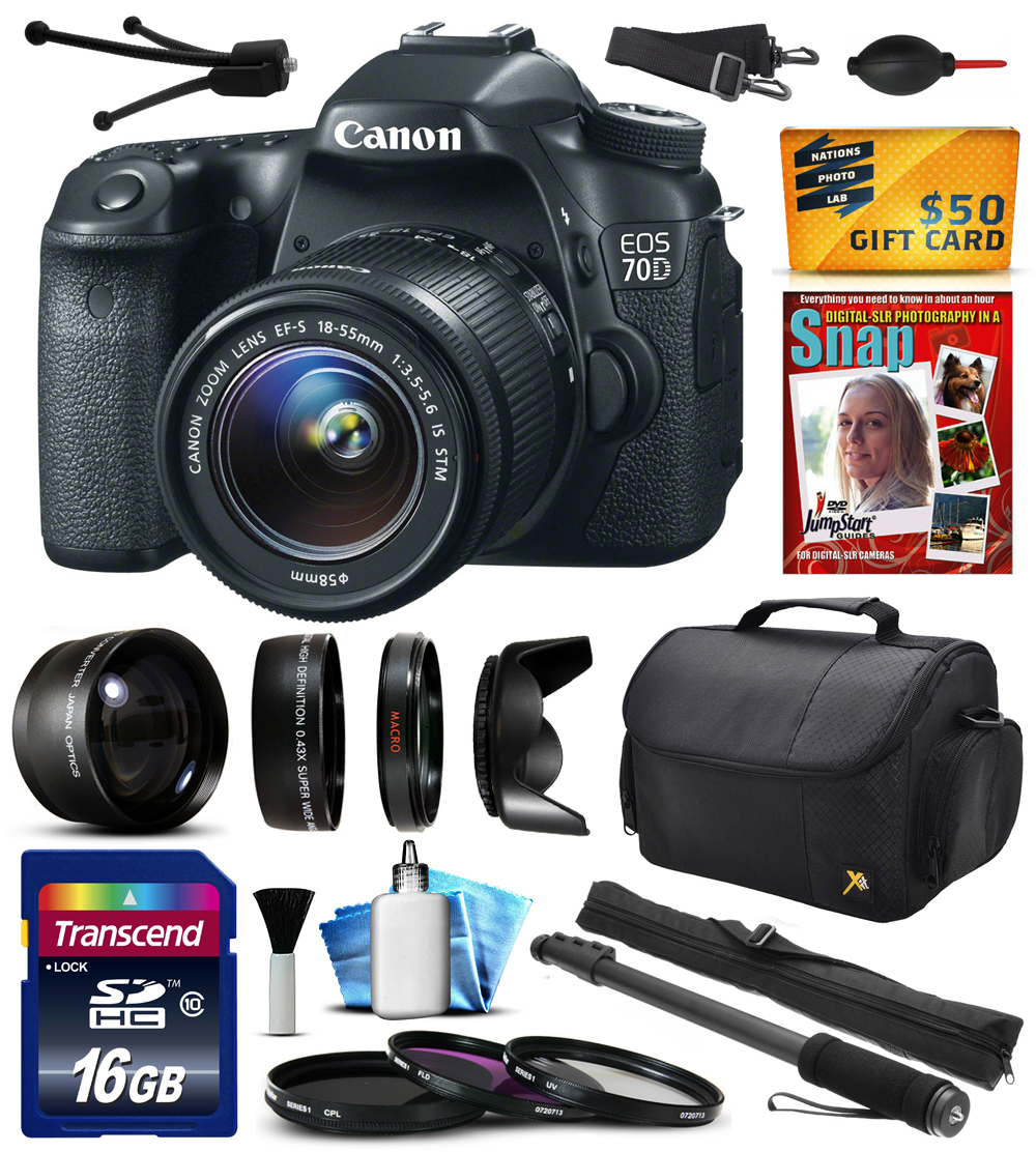 "Canon EOS 70D Digital SLR Camera with 18-55mm STM Lens with 16GB Memory + 2.2x + 0.43x Lens + Hood + UV-CPL-FL Filters + 67"" Monopod + Cleaning Kit + $50 Gift Card (16GB Amateur Bundle) 8469B009"