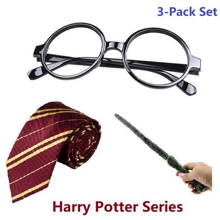 Microice Harry Potter Magic Sound & Light Wands, Gryffindor Ties and Glasses, 3pk/Set Costumes for Parties and Cosplay, Christmas Gifts for Kids