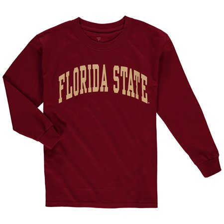 Florida State Seminoles Youth Secondary Logo Basic Arch Long Sleeve T-Shirt - Garnet