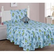 4 PIECE TWIN ROBOT Double Ruffle Kids Comforter Bedding Set With Fitted Sheet and Furry Friend Toy I