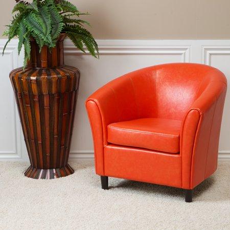 Jellico Orange Bonded Leather Club Chair Walmart Com