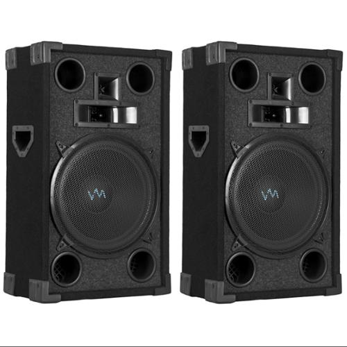"2)  VM Audio VAS312P 1800 Watt 3 Way 12"" DJ Passive Loud Speaker System Pair"