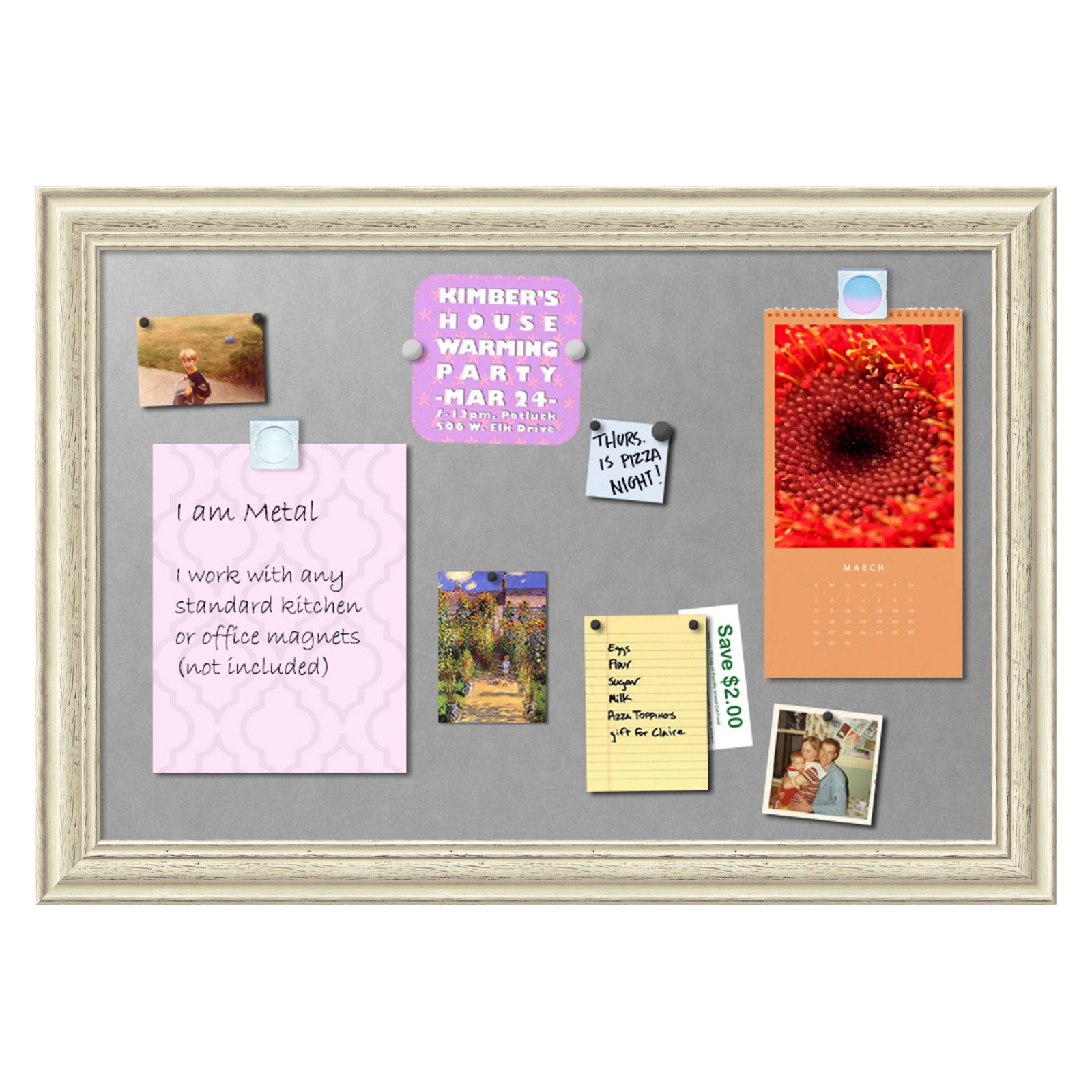 Amanti Art Country White Wash Framed Magnetic Board