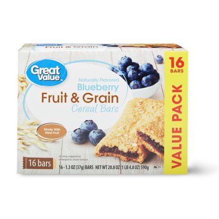 (2 Pack) Great Value Fruit & Grain Cereal Bars, Blueberry, 20.8 oz, 16 (Bar Grate)