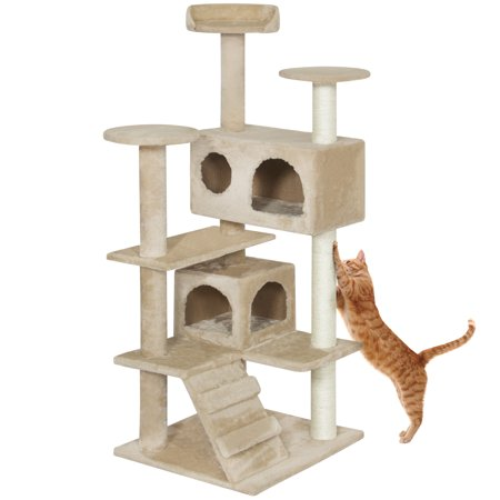 Best Choice Products 53in Multi-Level Cat Tree Scratcher Condo Tower, Beige ()