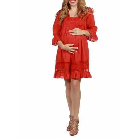 24seven Comfort Apparel Three Quarter sleeve Embroidered Maternity Peasant
