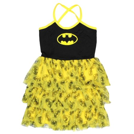 Batman Shirred Tulle Bust Mini - Batman Dress For Kids