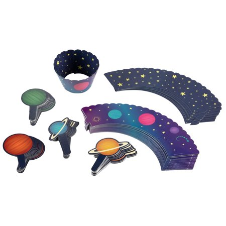 Outer Space Cupcake Toppers and Liners - 100-Piece Planets and Stars Cupcake Wrappers Baking Supplies, Kids Birthday Party Favors for Cake and Muffin Decorations, Solar System Themed](Outer Space Cake)