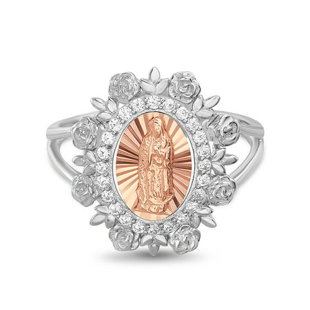 Sterling Silver Shank (Women's White Cubic Zirconia 2 Tone Virgin Mary Floral Halo Split Shank Ring in Rose Gold and Rhodium Plated Sterling Silver)