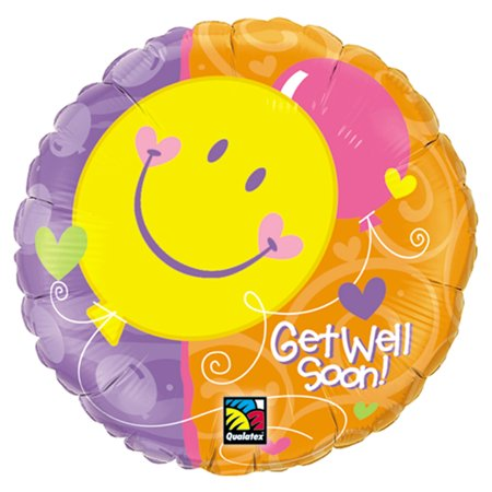 Qualatex Get Well Soon Smiling Balloons Round Supra 18